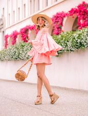 laminlouboutins,blogger,dress,skirt,romper,shoes,bag,hat,sunglasses,wedges,sandals,pink dress,summer outfits,summer dress,cult gaia bag,round bag