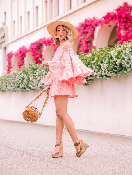 laminlouboutins blogger dress skirt romper shoes bag hat sunglasses wedges sandals pink dress summer outfits summer dress cult gaia bag round bag