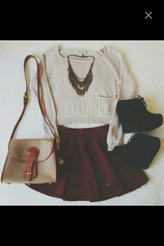 sweater bag purse skirt red skirt skater skirt cropped cropped sweater heels high heels necklace baige outfit summer outfits summer home accessory shorts shoes shirt jewels