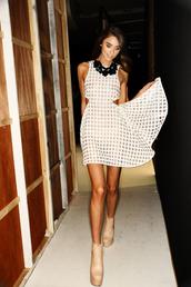 dress,white dress,square,cut-out,geometric,geometric dress,gold