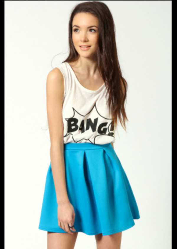 skirt top and skirt set blue skater skirt fashion tumblr cute tank top
