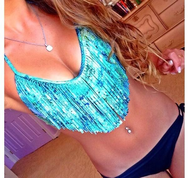 swimwear fringe bikini fringes blue swimwear bikini