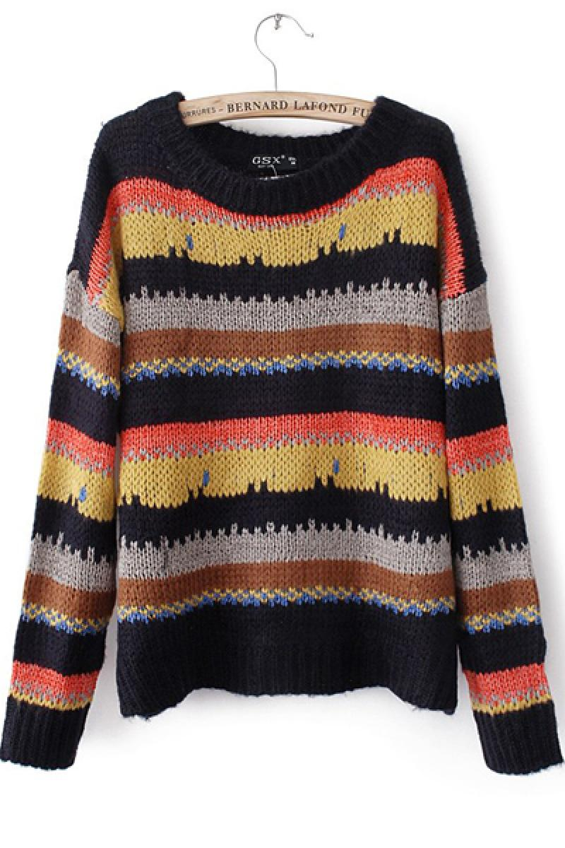 New Candy Colors Contrast Color Knitted Sweater,Cheap in Wendybox.com