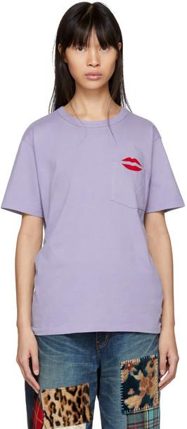 t-shirt shirt pocket t-shirt t-shirt lips blue top