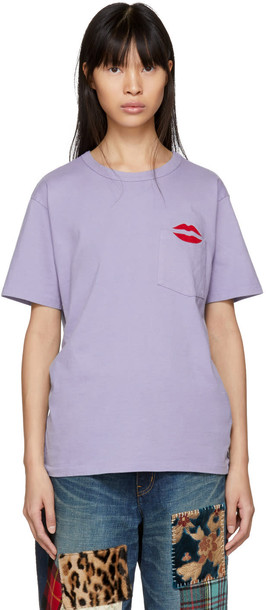 Bianca Chandon t-shirt shirt pocket t-shirt t-shirt lips blue top