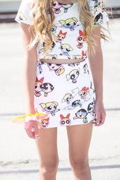 skirt,the powerpuff girls,90s style,cartoon,women,cute,tumblr,two-piece,hipster,set,white dress,bodycon,bodycon skirt,trendy,matching set,girly,90s grunge