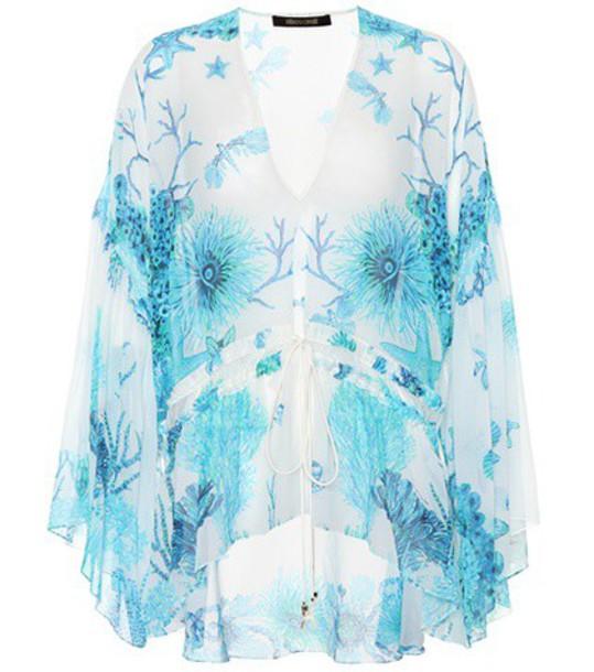 Roberto Cavalli top floral silk blue
