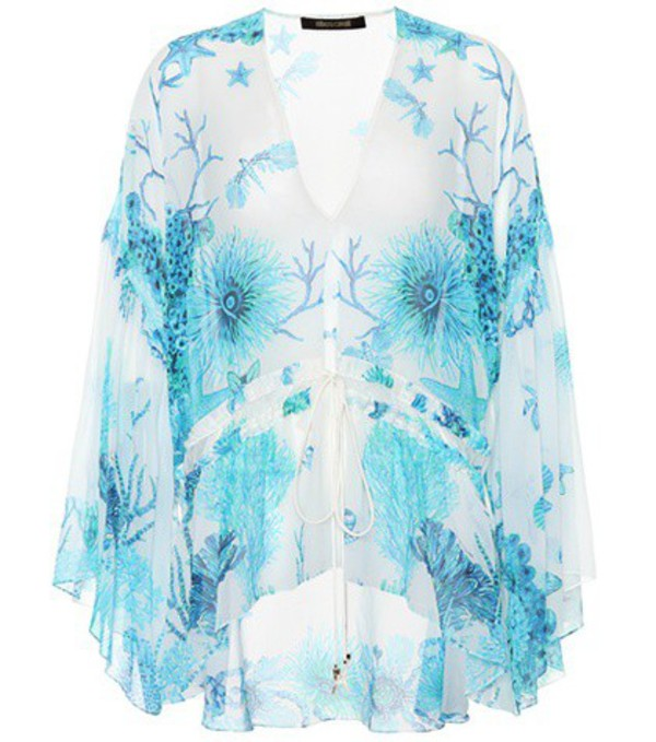 Roberto Cavalli Floral-printed silk top in blue