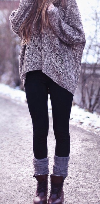 sweater grey sweater knitted sweater jeans shoes