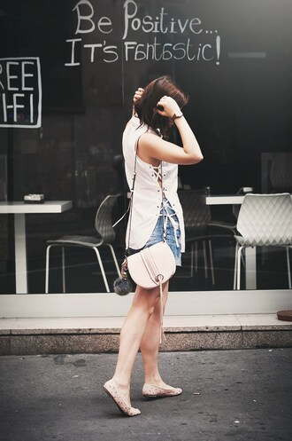 once upon a time blogger lace up top white top summer top date outfit nude bag ballet flats
