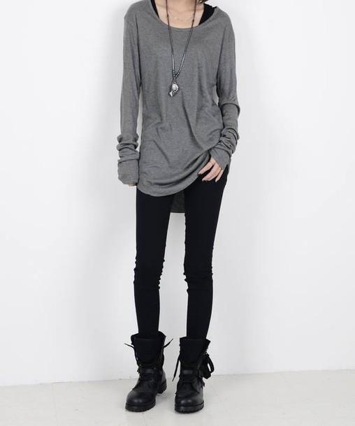 ulzzang asian top grey sweater shirt pants blouse leggings