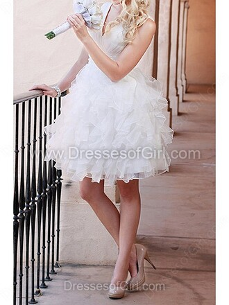 dress cute wedding bride sparkle tulle dress lace white wedding dress princess wedding dresses princess dress dressofgirl v neck v neck dress organza short dress short midi dress mini dress