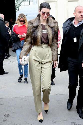 pants streetstyle paris fashion week 2017 fashion week 2017 pumps kendall jenner fur fur jacket top sunglasses model off-duty