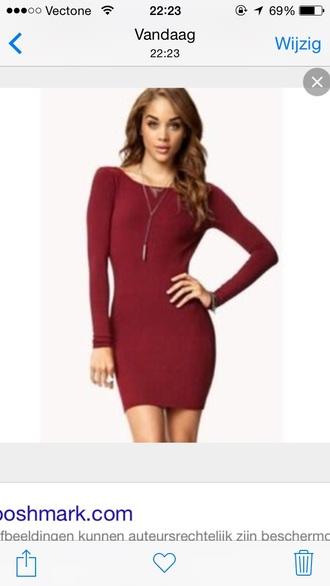 dress burgandy dress long sleevess
