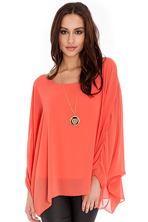 Batwing Chiffon Top with Gold Pendant Necklace