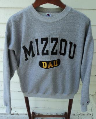 sweater jumper grey yellow mizzou