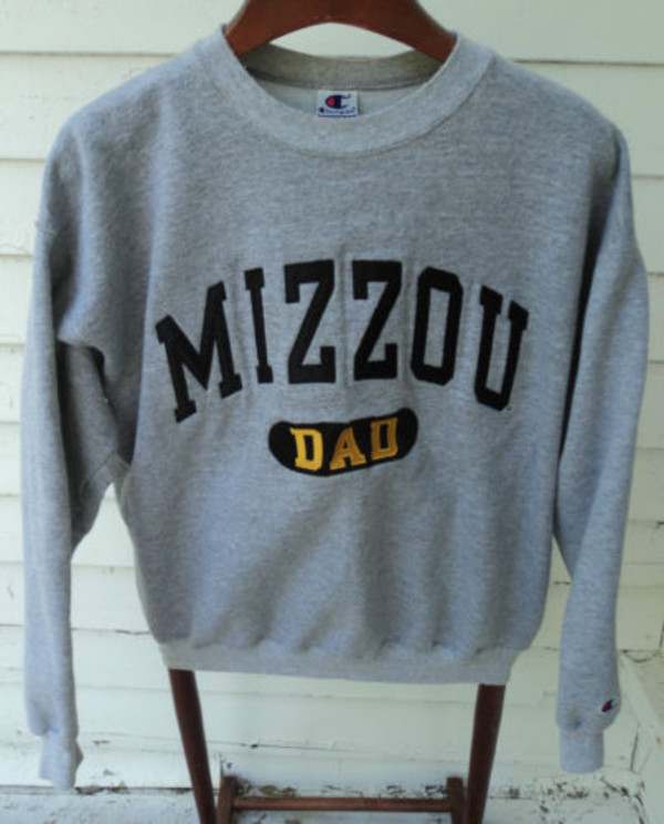 sweater grey sweatshirt jumper yellow mizzou