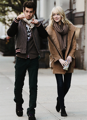 shoes,emma stone,coat,boots,ankle boots,black boots,jacket,fall outfits,emma,stone