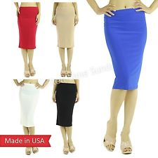 New Women Trend Solid Color Lightweight Below Knee Casual Pencil Tube Skirt USA