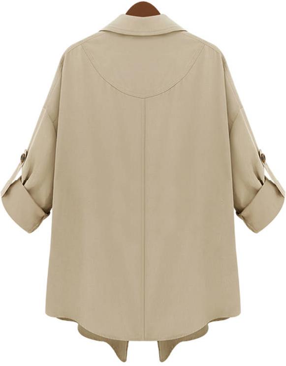 Khaki Lapel Half Sleeve Asymmetrical Pockets Outerwear - Sheinside.com