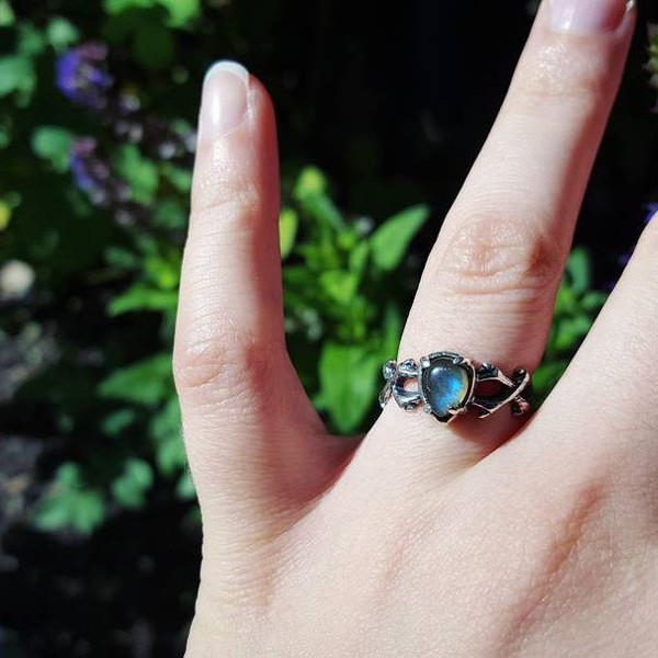 jewels shop dixi labradorite thorns ring sterling silver rings goth hippie grunge boho boho jewelry witchy