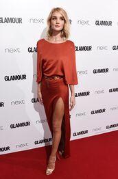 dress,gown,red dress,prom dress,slit dress,maxi dress,sandals,rosie huntington-whiteley