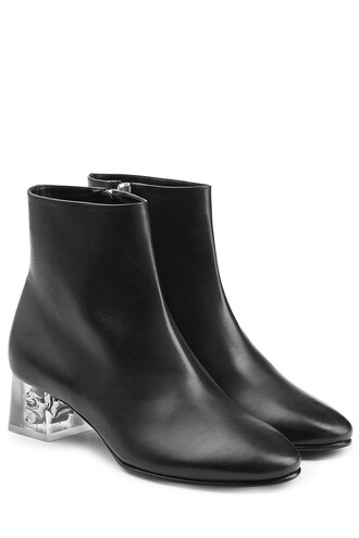 heel leather ankle boots skull boots ankle boots leather black shoes