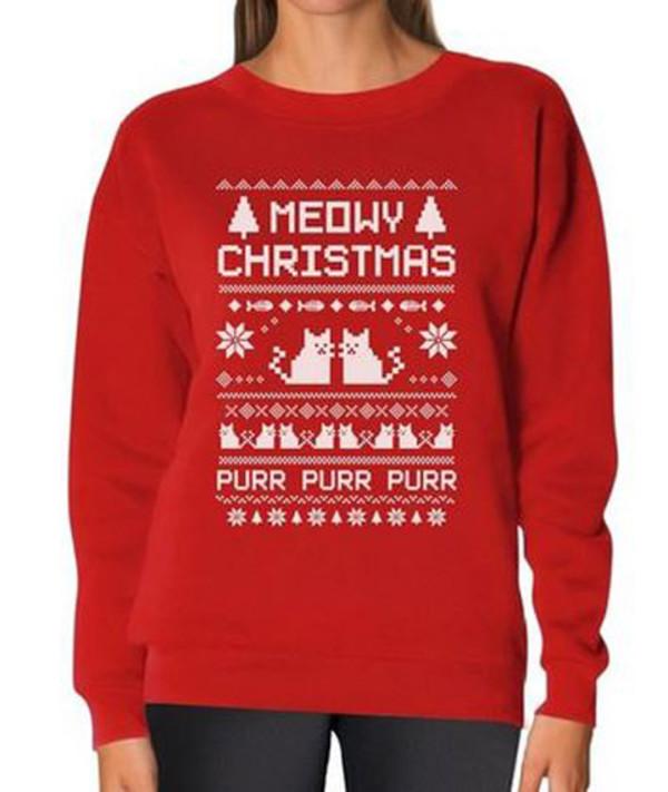 Amazoncom Teestars Womens Meowy Christmas Ugly Sweater