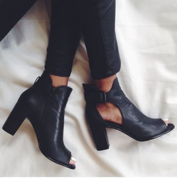 Shoes: black, boots, chunky heels, cut-out, peep toe boots ...