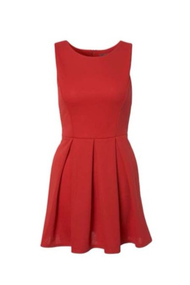 dress red dress pleated skirt