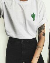 shirt,cactus shirt,top,white top,tumblr,tumblr outfit,cactus,white,black jeans,catcus,aesthetic,plant shirt