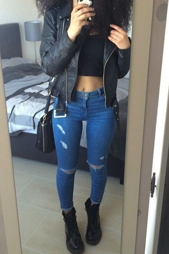 coat black jacket biker jacket jeans ripped jeans high waisted ripped jeans