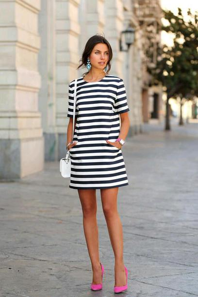 77c8b16e921f dress striped t-shirt dress neon pink stilettos blue earrings white handbag  blogger