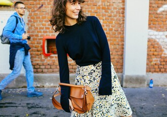 a portable package blogger sweater skirt bag loewe bag
