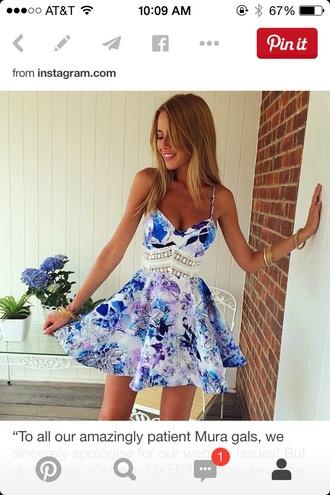dress summer fashion pattern fashion inspo tan sexy short dress purple blue white style ebonylace