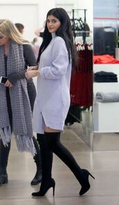 dress,sweater dress,kylie jenner,boots,knitted dress,suede boots,over the knee boots,knee high boots