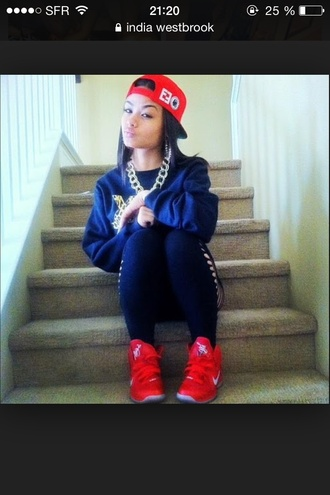 snapback gold india westbrooks red black tights