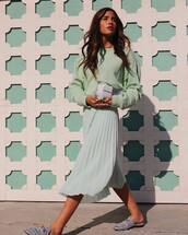 shoes,skirt,top,pastel colors,mules,silver mules,gliter mules,bag