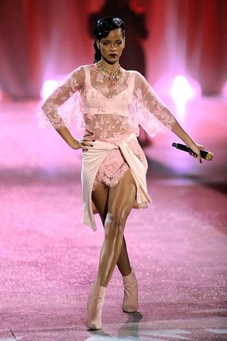 rihanna style rihanna pink bra bralette pink underwear lace top nude top nude heels