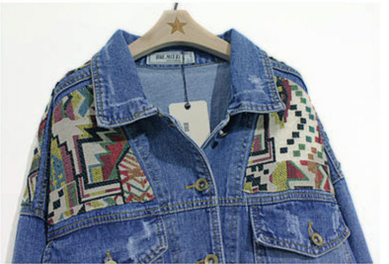 Blue Lapel Long Sleeve Geometric Pattern Denim Jacket - Sheinside.com
