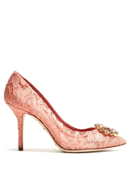 Dolce & Gabbana embellished pumps lace pink shoes