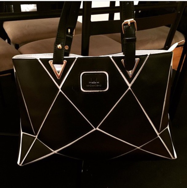 bag black and white tote leather r