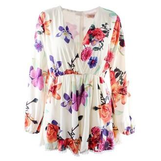 jumpsuit romper v neck v neck long sleeve playsuit print palysuit floral playsuit print jumpsuit v neck jumpsuit