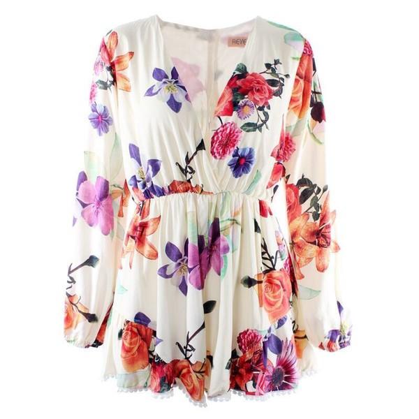 romper v neck v neck long sleeve playsuit print palysuit floral romper
