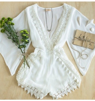 romper outfit fashion style jumpsuit one piece jewels accessories long sleeves spring outfits spring lace up make-up