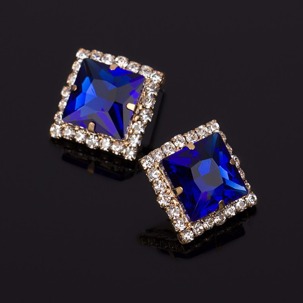 jewels blue geometric crystal stud earrings for women