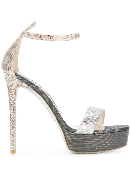 René Caovilla women sandals leather grey metallic shoes
