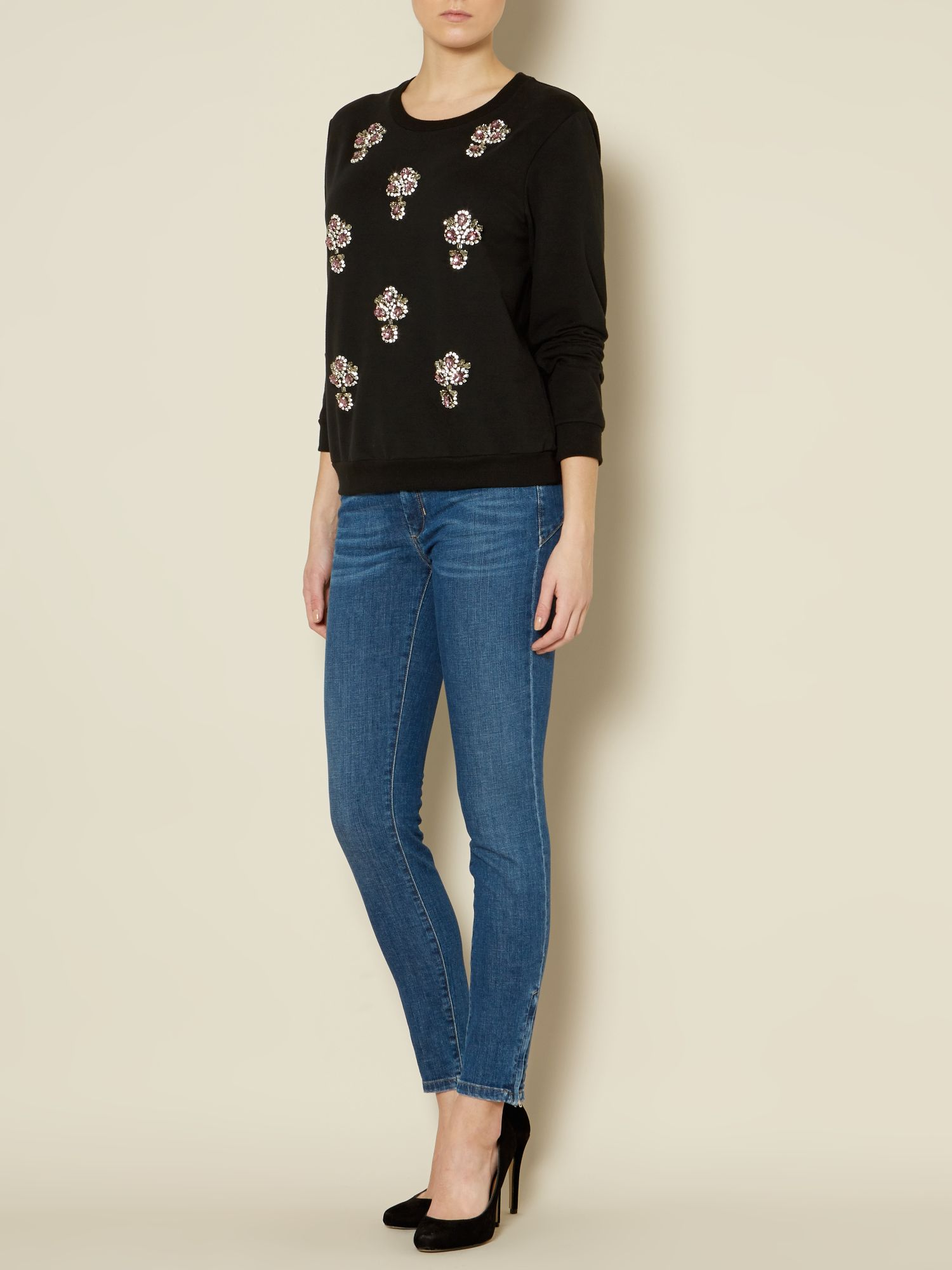 Sportmax Code Afona Long sleeve crystal embellished sweat Black - House of Fraser