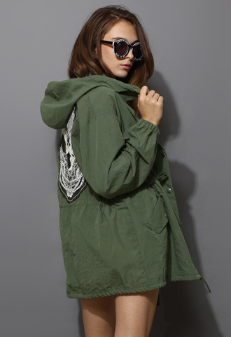 coat lace skull army green military style chic blogger