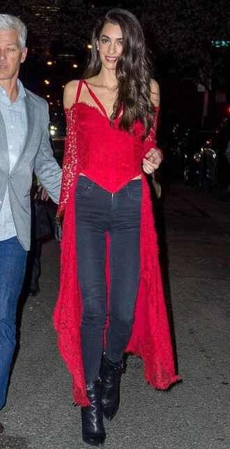 blouse top bustier red jeans boots amal clooney celebrity shoes